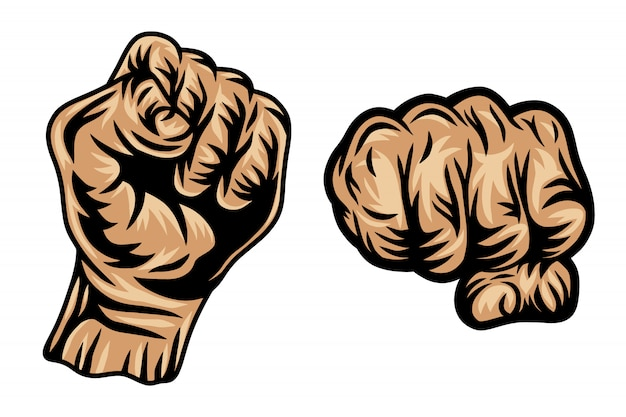Set of colorful vintage retro human fist hands isolated  illustration on a white background.