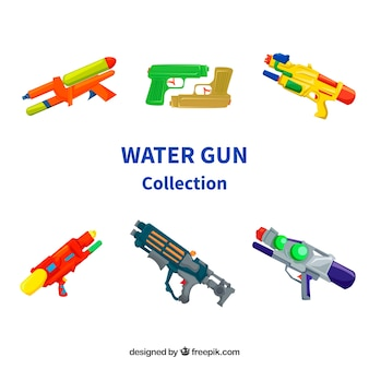 Set of colorful water guns with plastic material