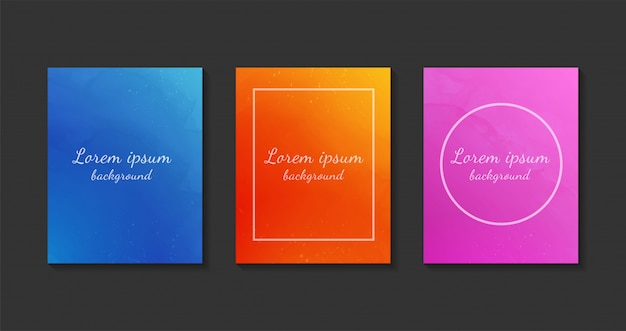 Set of colorful watercolor background templates.