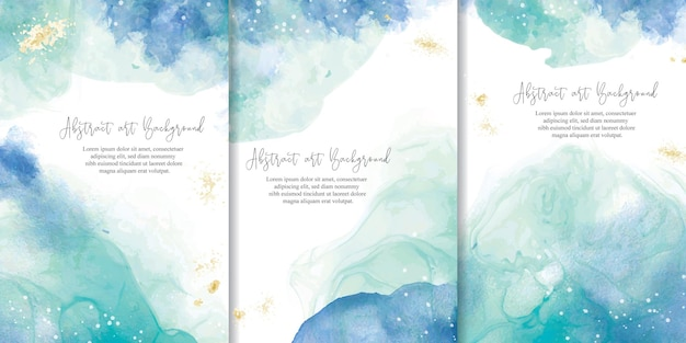Set of colorful watercolor background with abstract fluid art painting design