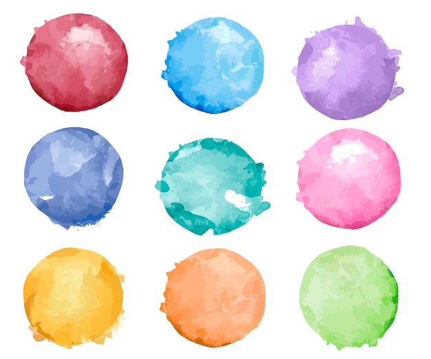 Set of colorful watercolor badge vector