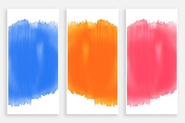 Set of colorful watercolor banners