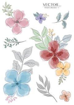 Set of colorful watercolor floral branch