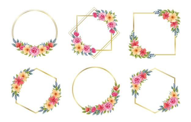 Set of colorful watercolor floral frame for wedding monogram logo