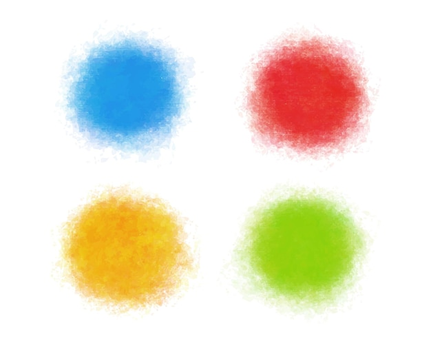 Set of colorful watercolor round shapes