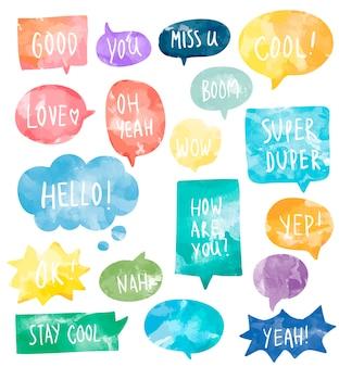 Set of colorful watercolor speech bubbles vector Free Vector