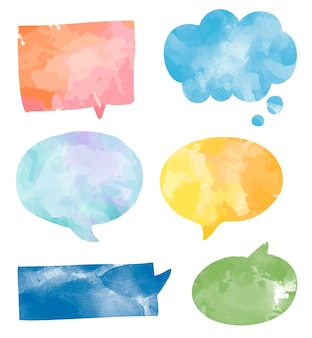 Set of colorful watercolor speech bubbles vector