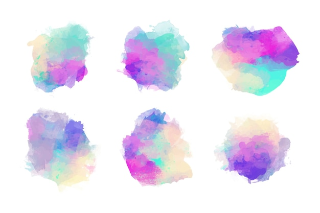 Set of colorful watercolor stains