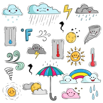 Set of colorful weather elements with doodle style and kawaii face