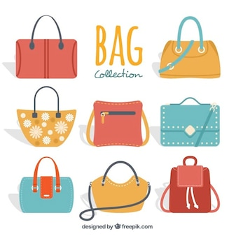 Set of colorful woman's handbags