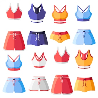 Set of colorful women sport bra and shorts. women sport clothes collection. training top.   illustration  on white background