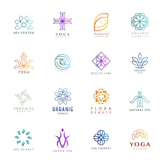 Set of colorful yoga and spa logo vector