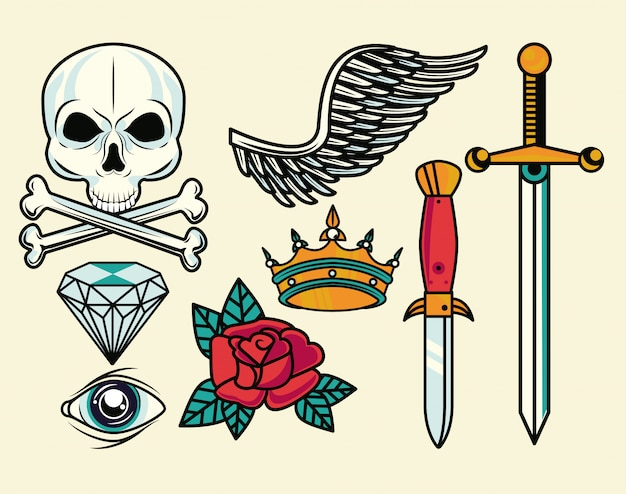 Set of colorfull tattoos graphics