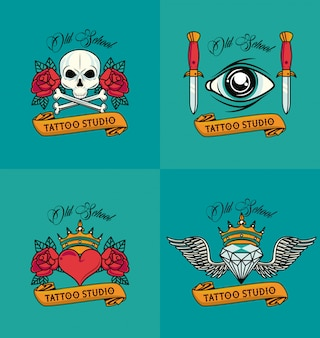 Set of colorfull tattoos styles