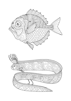 Set coloring page design clear background