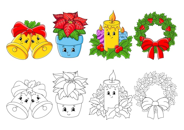 Set coloring page for kids merry christmas theme
