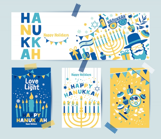 Set of colors four hanukkah greeting cards and banner with candles