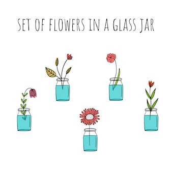 Set of colors in glass jars.