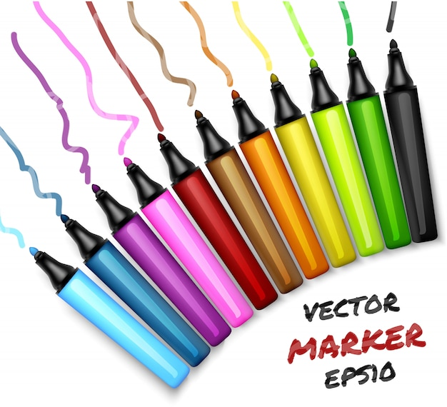 Set of colors open permanent markers pen. felt-pen illustration