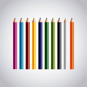Set colors pencils icon