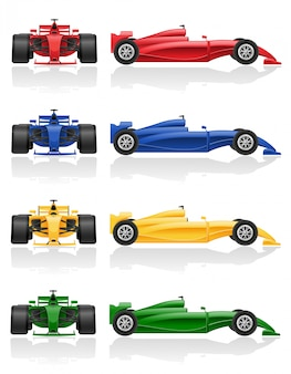 Set colors of racing car f1 vector illustration