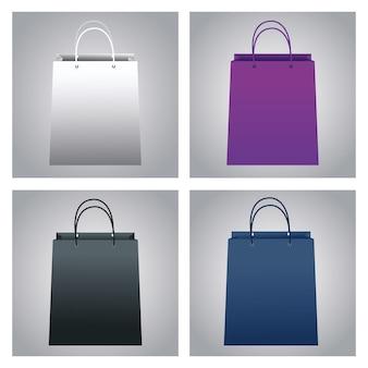 Набор цветов сумки для покупок бумажный макет иконки векторные иллюстрации дизайн