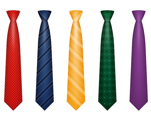 Set of colors tie for men a suit vector illustration