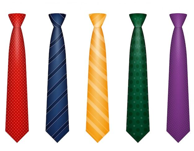 Set of colors tie for men a suit vector illustration