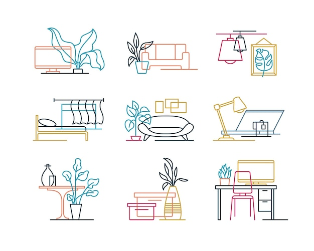 Set of colour intersected line interior design icons.