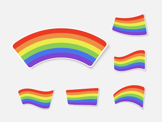 Set of colour rainbows isolated on white