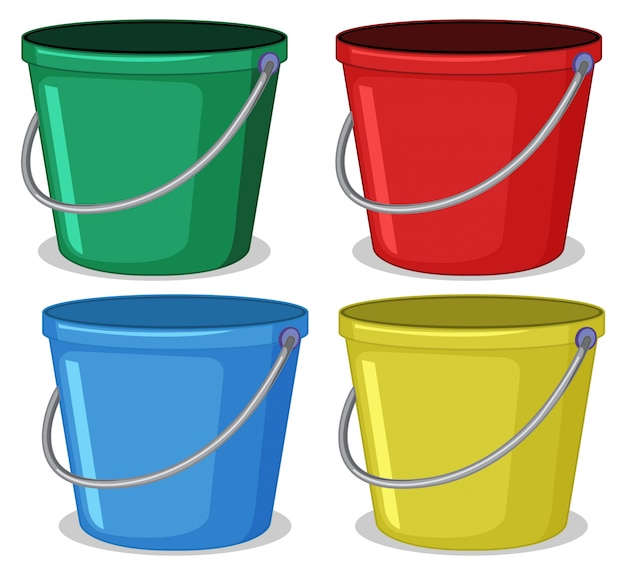 Set of colourful bucket