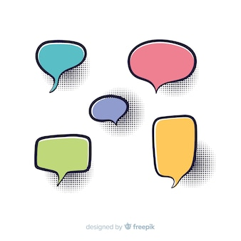 Set of colourful comic speech bubbles