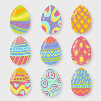 Set of colourful easter eggs flat design
