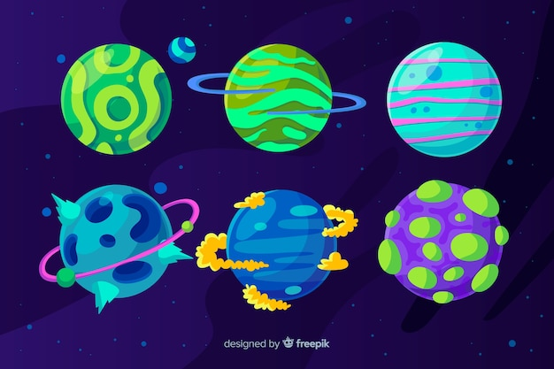 Set of colourful flat design planets
