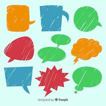 Set of colourful hand drawn speech bubbles