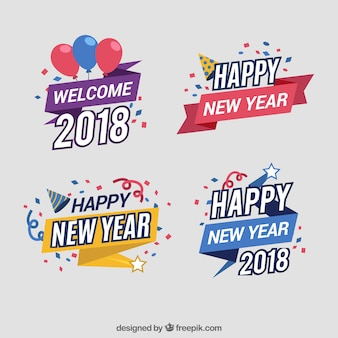 Set of colourful new year stickers