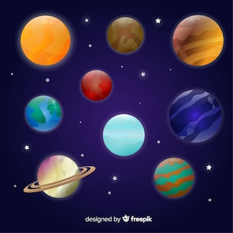 Set of colourful planets from solar system