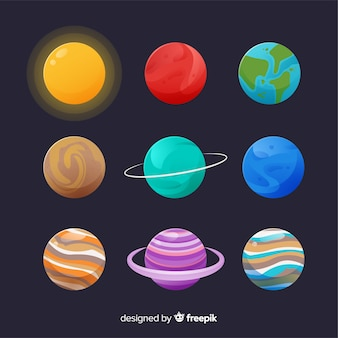 Set of colourful planets in the solar system