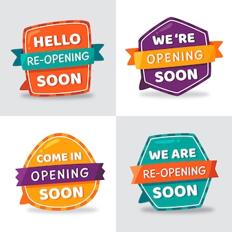 Set of colourful re-opening soon badges