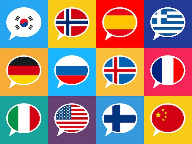 Set of colourful speech bubbles with different countries flags. languages   illustration.