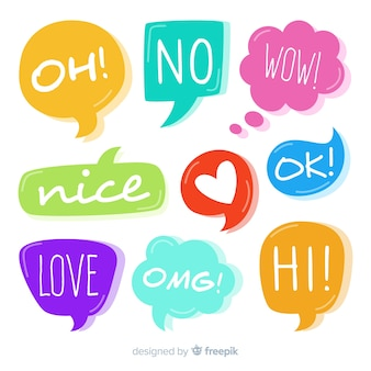 Set of colourful speech bubbles with different expressions