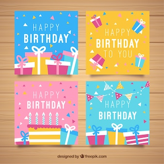 Set of colourful square birthday cards in flat design