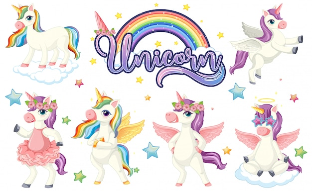 Set of colourful unicorn character