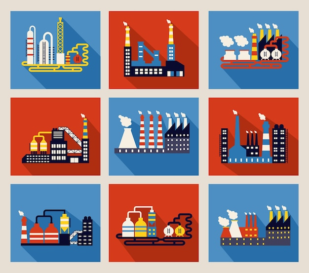 Set of colourful vector industrial factory buildings and refineries