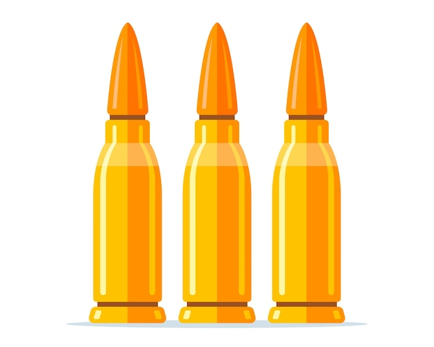 Set of combat cartridge for a rifle on a white background. flat vector illustration