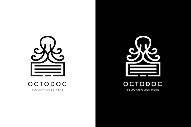 Set of combination of octopus with document logo design template use modern black and white colors