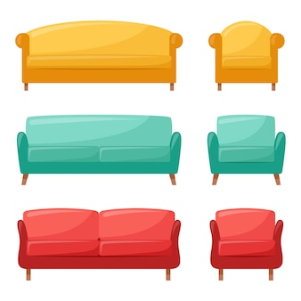 Set of comfortable sofas and armchairs for interior design vector illustration