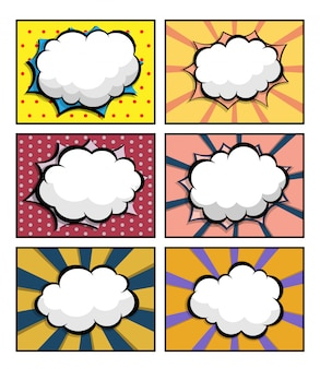 Set of comic book, pop art with blank speech bubble