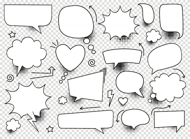 A set of comic bubbles and elements with halftone shadows