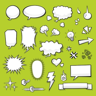 Set of comic elements for comic design use